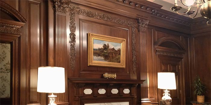Paneled walnut library dentil mouldings