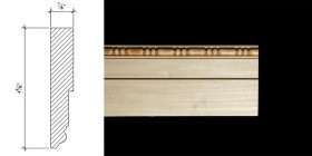 3025 4 5/8″ x 7/8″ Base moulding with a plain face and a double bead and barrel detail.