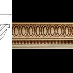 3027 2 11/16″ x 2 1/4″ Bed moulding with an oval patterned bolections and small vertical reed band.