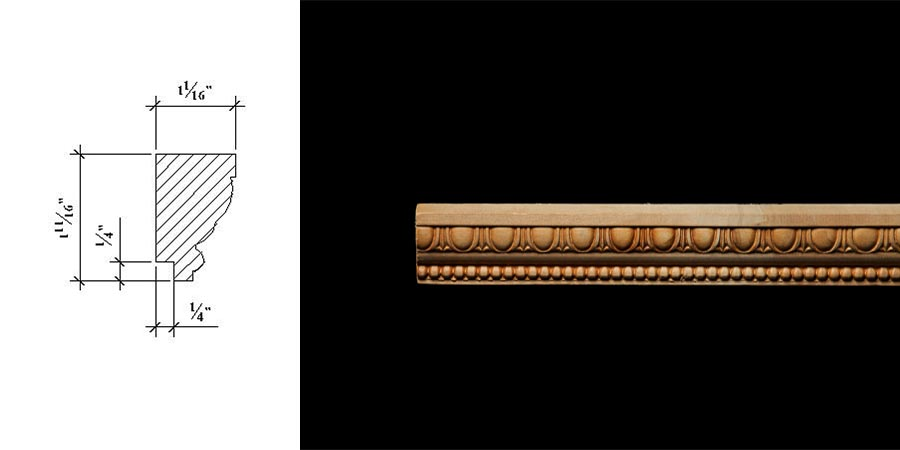3031 1 11/16″ x 1 1/16″ Wall panel moulding with a 1/4″ x 1/4″ off set base and an egg and dart design and pellet pattern.