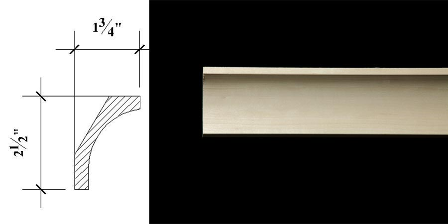 3052 2 1/2″ x 1 3/4″ Plain milled cove moulding.