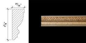 3060 2 3/8′ x 15/16″ Casing or chair rail moulding with a bead reel band and a palmette pattern.