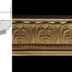 3070 3 5/8″ x 3 1/16″ Crown moulding featuring an acanthus leaf design and pellet pattern.