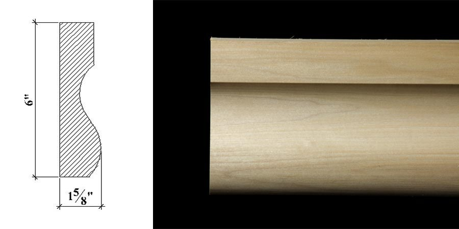 3076 6″ x 1 5/8″ Plain milled moulding with a flat face, shallow cove and a bolected base.