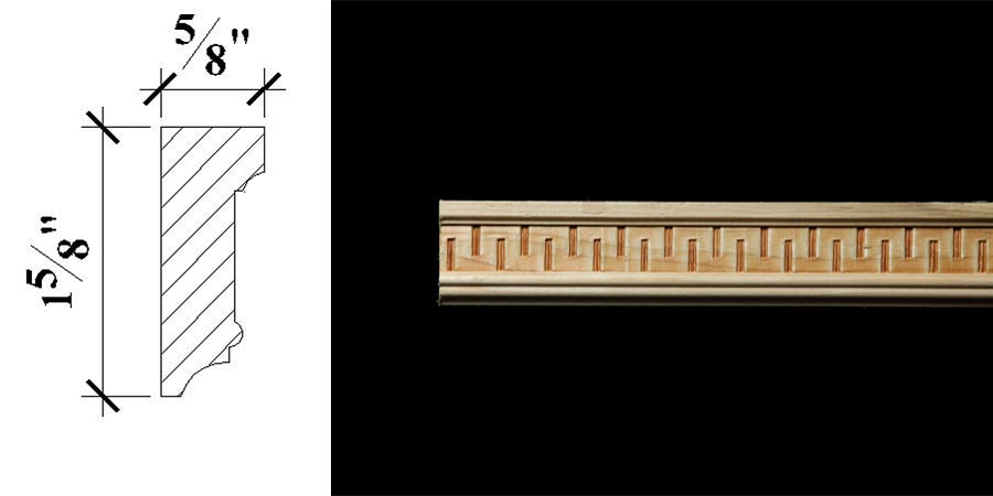 3086 1 5/8″ x 5/8″ Chair rail or base cap moulding with a Greek key or fret patterned frieze.
