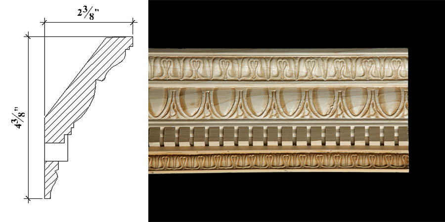 Cc 38 4 3 8 x 2 3 8 colonial era cornice moulding with for Colonial cornice
