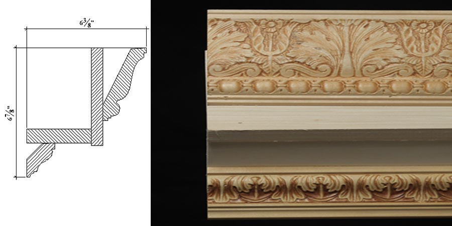 Cc 9 6 7 8 x 6 3 8 colonial era cornice moulding with for Colonial cornice