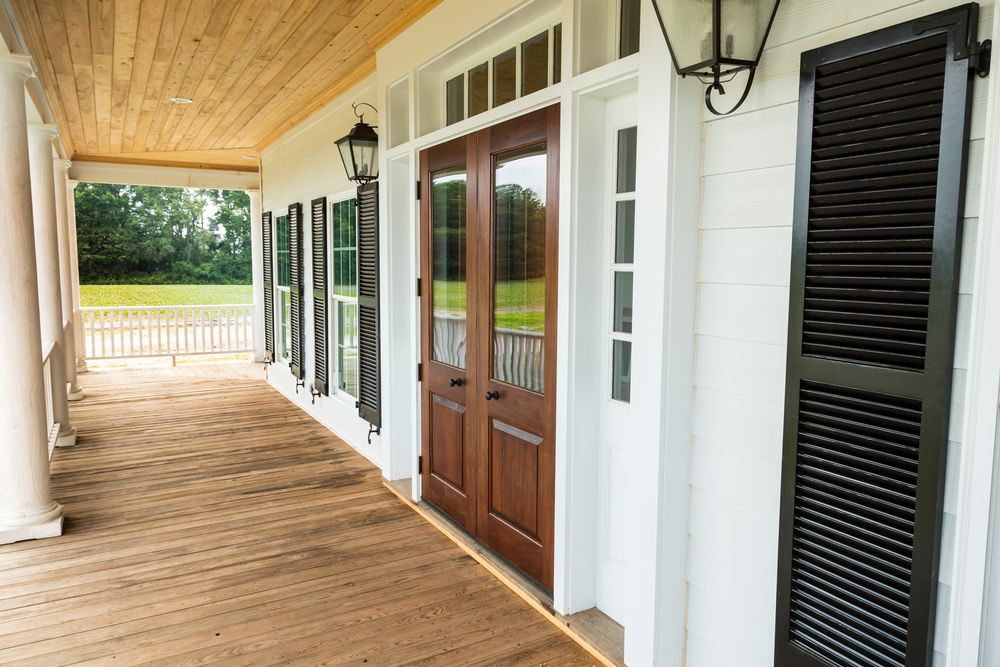 Entrance of Darlington, SC Farmhouse; Showing shutters supplied by Driwood