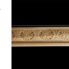 3067 2 15/16″ x 3/4″ Chair rail moulding with an inverted acanthus leaf pattern and a rope detail.