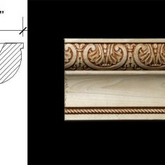 3069 4 1/16″ x 2 1/8″ Crown moulding featuring a stylized acanthus leaf pattern, plain milled cove and a rope detail.